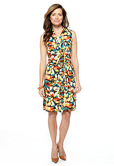 Rafaella Form + Function Lava Flower Print Shirt Dress
