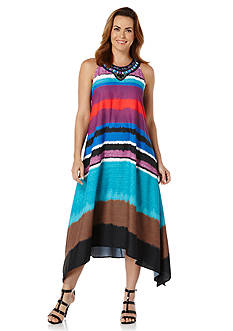 Rafaella Sleeveless Printed Dress with Cascading Hem