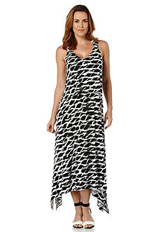 Rafaella Printed Asymmetric Maxi Dress