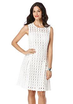 Rafaella Geo Lace Fit and Flare Dress