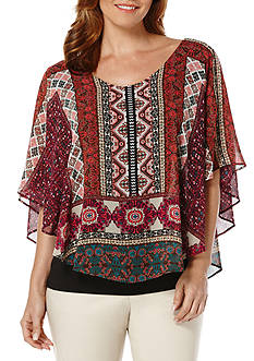Rafaella Printed Chiffon Layered Top