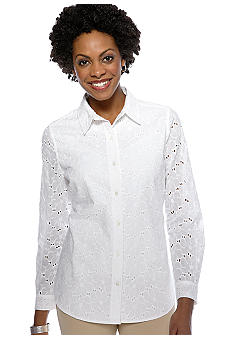 Rafaella Form + Function Eyelet Button Down Blouse