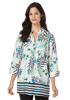 Rafaella Tropical Printed Linen Top