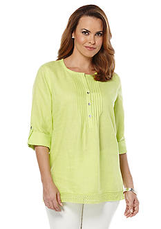 Rafaella Linen Roll Tab Sleeve Top