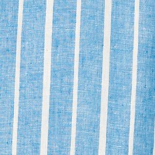 Tunic Tops: Blue Rafaella Striped Linen Tunic Top