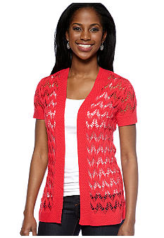 Kim Rogers Short Sleeve Open Diamond Stitch Cardigan