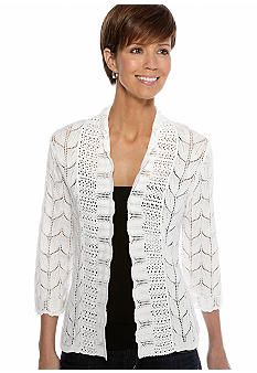 Kim Rogers Three Quarter Sleeve Pointelle Stitch Open Cardigan