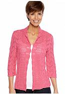 Kim Rogers® Three Quarter Sleeve Pointelle Stitch Open Cardigan