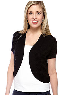 Kim Rogers Short Sleeve Novelty Stitch Shrug