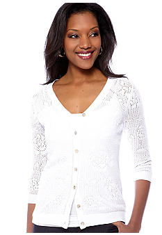 Kim Rogers Three Quarter Sleeve V-Neck Pointelle Cardigan