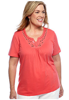 Kim Rogers Plus Size Embroidered Yoke Flutter Sleeve Top