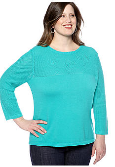 Kim Rogers Plus Size Floral Pattern Yoke Pullover Sweater