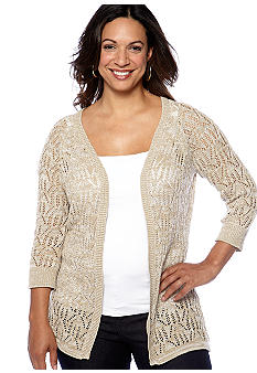 Kim Rogers® Plus Size Pointelle Mixed Yarn Cardigan