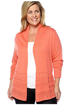 Kim Rogers® Plus Size Pointelle Border Cardigan
