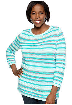 Kim Rogers Plus Size Stripe Pullover Sweater