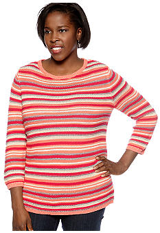 Kim Rogers® Plus Size Stripe Pullover Sweater