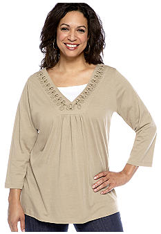 Kim Rogers Plus Size Soutache V-Neck Inset Knit Top