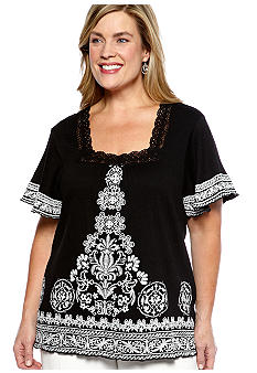 Kim Rogers Plus Size Puff Print Border Square Neck Gauze Top
