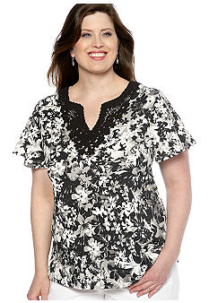 Kim Rogers Plus Size Tonal Print Crochet Knit Top