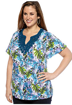 Kim Rogers Plus Size Floral Printed Split Neck Top