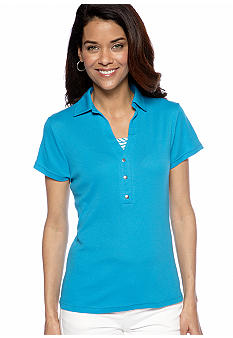 Kim Rogers Petite Collared Shirt with Stripe Inset