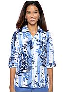 Kim Rogers® Petite Printed Blouse with Embroidery