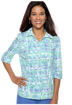 Kim Rogers Petite Print Crush Burnout Plaid Blouse