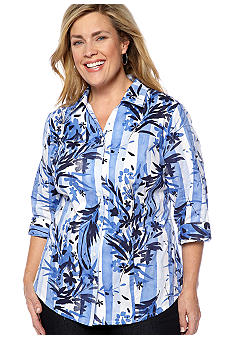 Kim Rogers Plus Size Printed Embroidered Button Front Blouse