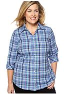 Kim Rogers® Plus Size Plaid Blouse