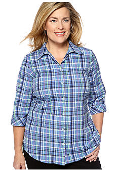 Kim Rogers Plus Size Plaid Blouse