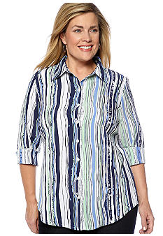 Kim Rogers Plus Size Striped Newport Crinkle Blouse