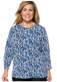 Kim Rogers Plus Size Printed Microfine Jersey Knit Top