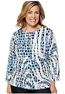 Kim Rogers® Plus Size Printed Microfine Jersey Knit Top