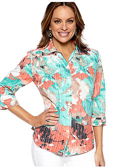 Kim Rogers Petite Printed Crush Burnout Blouse