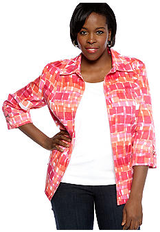 Kim Rogers Plus Size Printed Open Front Jacket With Hardware