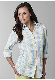 Kim Rogers Petite Three Quarter Sleeve Textured Blouse