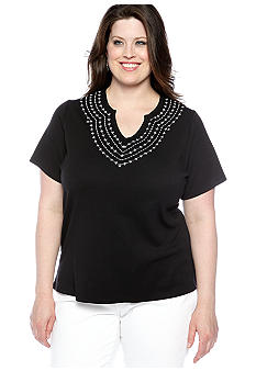 Kim Rogers Plus Size Solid Interlock Split Neck Embroidered Tee
