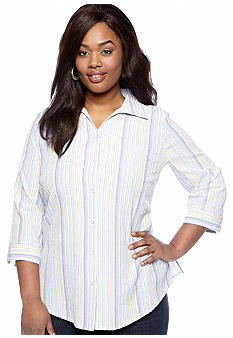 Kim Rogers Plus Size Pastel Stripe Woven Top