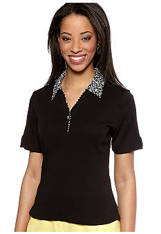Kim Rogers Petite Short Sleeve Trimmed Polo