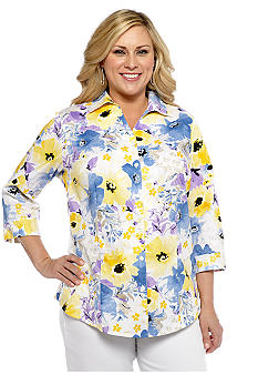 Kim Rogers Plus Size Floral Print Cotton Embroidered Blouse