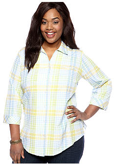 Kim Rogers Plus Size Plaid Roll Sleeve Shirt
