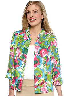 Kim Rogers Printed Open Front Madarin Collar Jacket
