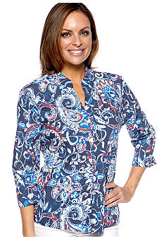 Kim Rogers Petite Three Quarter Sleeve Printed Blouse with Mandarin Collar