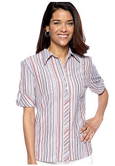 Kim Rogers Petite Textured Stripe Short Sleeve Blouse