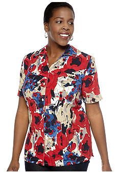 Kim Rogers Plus Size Watercolor Print Newport Crinkle Short Sleeve Blouse