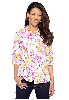 Kim Rogers Petite Crush Burnout Button Down Blouse