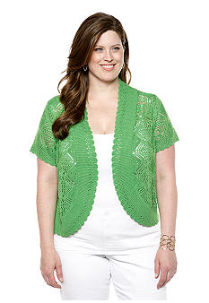 New Directions Plus Size Crochet Scallop Trim Shrug