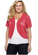 New Directions® Plus Size Crochet Scallop Trim Shrug