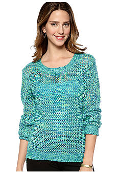 New Directions Pointelle High Low Sweater