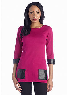 New Directions® Faux Leather Detail Tunic